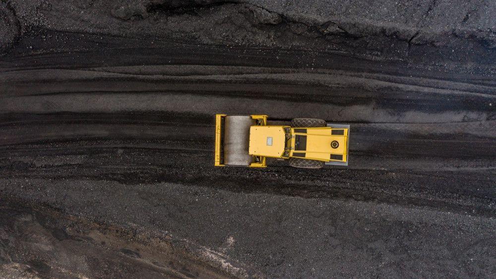Truck driving in coal