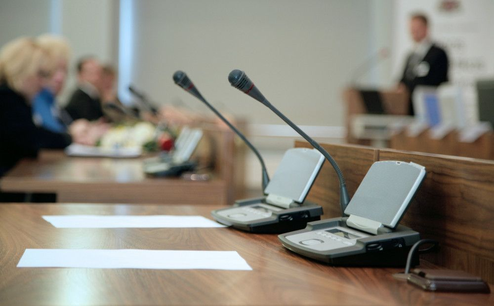 Microphones at a panel